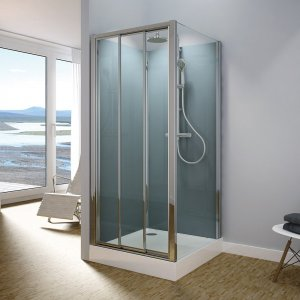 Modul 1400 TOPS3+TOPF - kompletní sprchová kabina 80x120 cm, termostatická baterie, hlavová sprcha, posuvné dveře