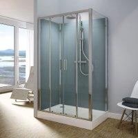 Modul 1400 TOPS4+TOPF - kompletní sprchová kabina 90x120 cm, termostatická baterie, hlavová sprcha, posuvné dveře