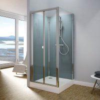 Modul 1400 TOPK+TOPF - kompletní sprchová kabina 80x100 cm, termostatická baterie, hlavová sprcha, zlamovací dveře