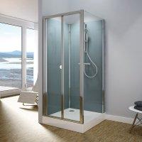 Modul 1400 TOPK+TOPF - kompletní sprchová kabina 80x100 cm, termostatická baterie, zlamovací dveře