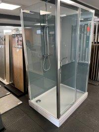 Modul 1400 TOPS2+TOPF - kompletní sprchová kabina 90x120 cm, termostatická baterie, hlavová sprcha, posuvné dveře, aluchrom, čiré sklo