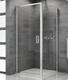 Sprchový kout s vaničkou 80x80, jednokřídlé lítací dveře, sklo čiré, rám aluchrom