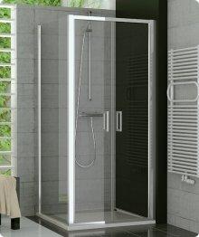 Sprchový kout s vaničkou 90x90, dvoukřídlé lítací dveře, sklo čiré, rám aluchrom