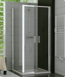 Sprchový kout s vaničkou 90x90, dvoukřídlé lítací dveře, sklo durlux, rám aluchrom