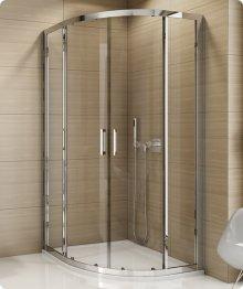 Čtvrtkruhový sprchový kout s vaničkou 90x90, s posuvnými dveřmi, sklo čiré, rám aluchrom