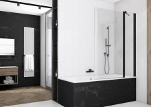 SOEB13 - jednodílná vanová zástěna s pevnou stěnou v rovině 90 cm, černý matný profil