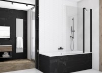 SOEB13 - jednodílná vanová zástěna s pevnou stěnou v rovině 100 cm, černý matný profil
