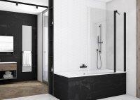 SOEB13 - jednodílná vanová zástěna s pevnou stěnou v rovině 110 cm, černý matný profil