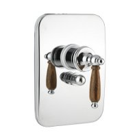 Nilo - sprchová podomítková baterie, komplet, přepínač, chrom a dřevěná ručka
