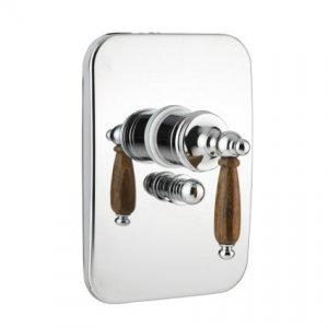 Nilo - sprchová podomítková baterie, komplet, přepínač, bronz a dřevěná ručka