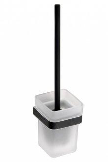 Nero - WC štětka miska sklo, černá