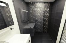 3D návrh - paneláková koupelna Amarante