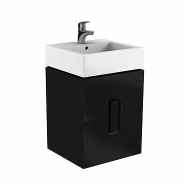 Kolo Twins - skříňka pod umyvadlo 50 x 46 cm, 2 zásuvky, černá matná 89491000