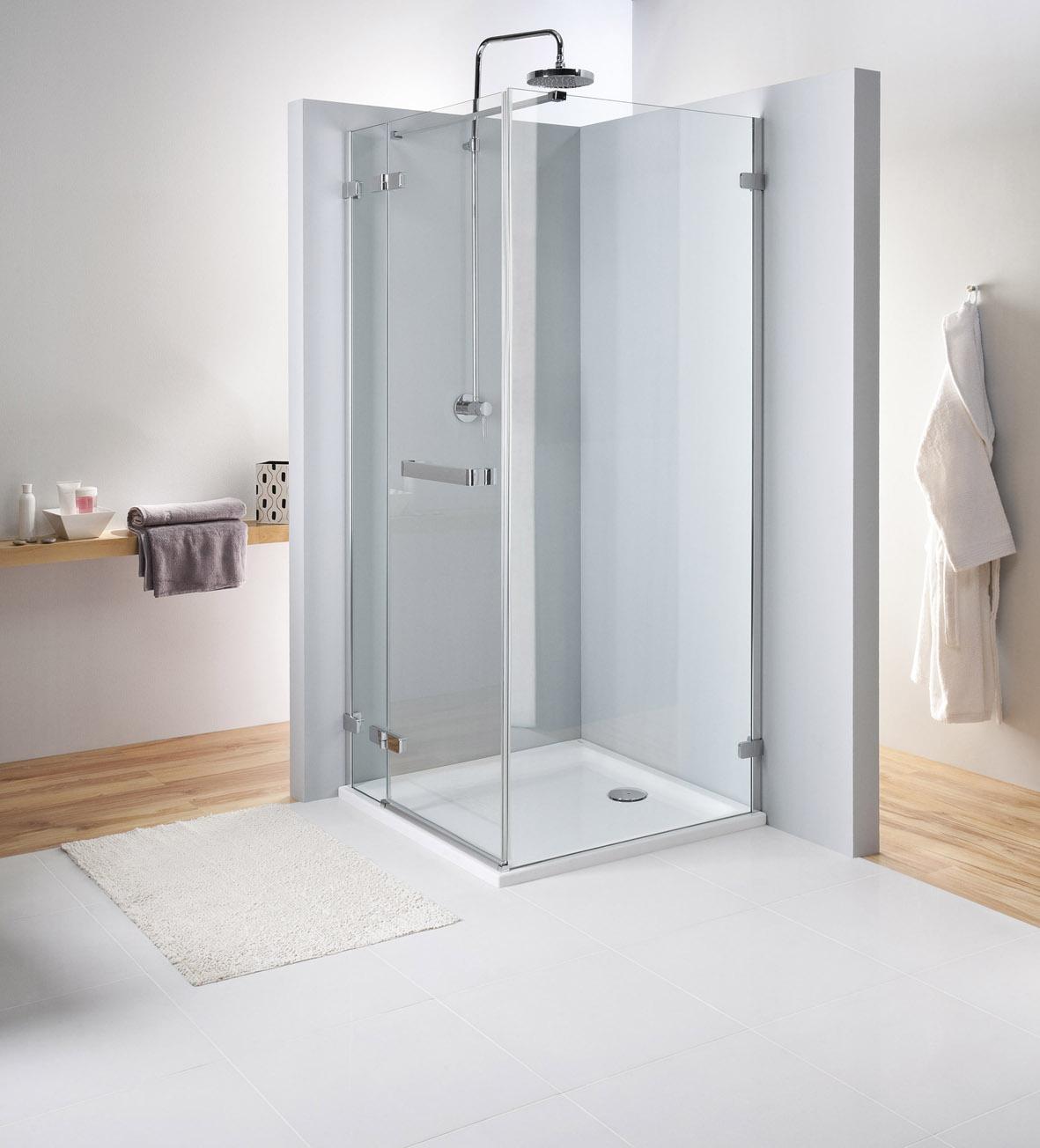 Kolo Next - křídlové dveře 80 cm, s madlem, pro kombinaci s pevnou boční stěnou, sklo čiré, stříbrná lesklá HDSF80222R03 L/R