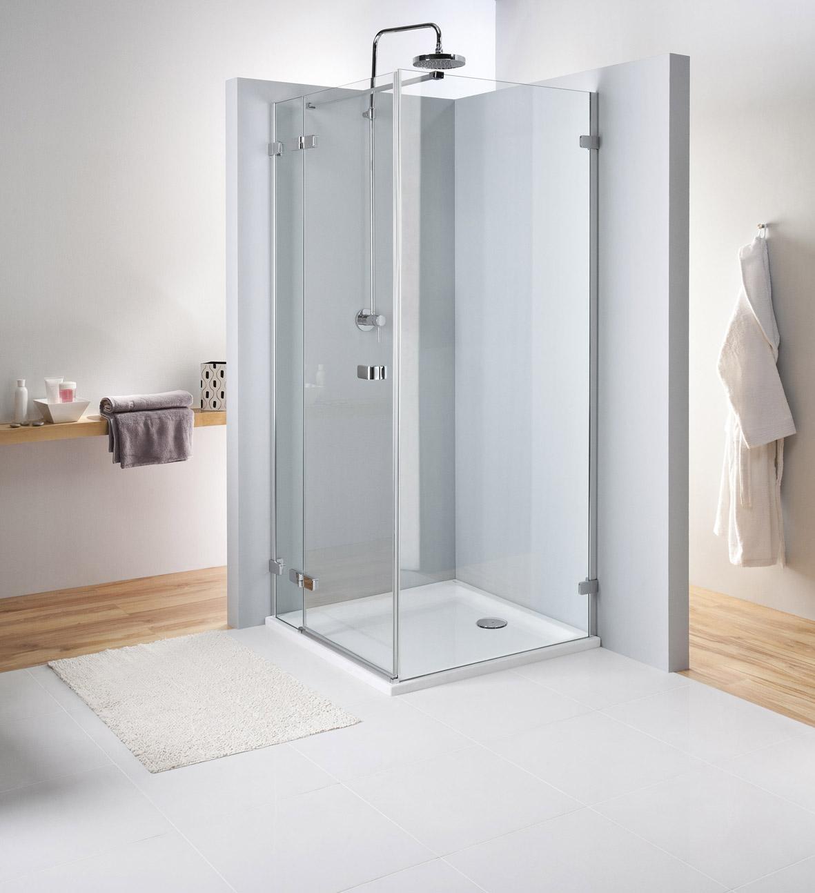Kolo Next - křídlové dveře 100 cm, pro kombinaci s pevnou boční stěnou, sklo čiré, stříbrná lesklá HDSF10222003 L/R