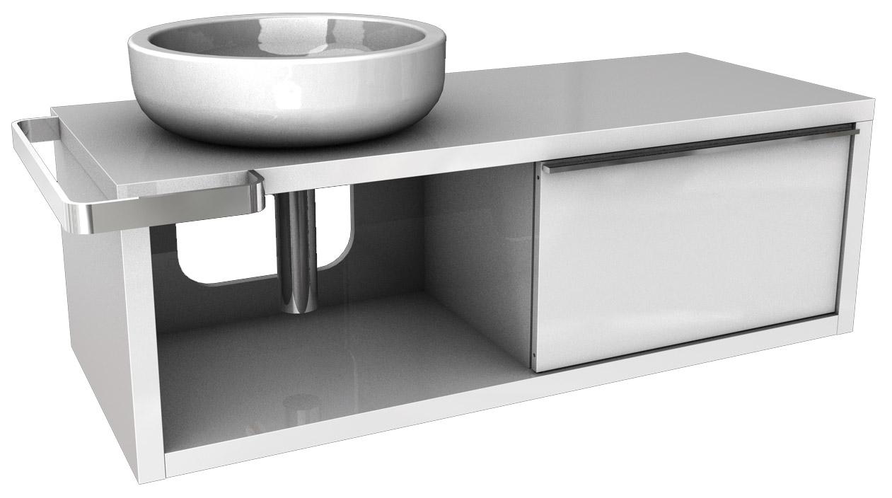 Kolo Ego/Ovum - skříňka pod umyvadlo 127 x 57 cm, levá, lesklá bílá 89234000