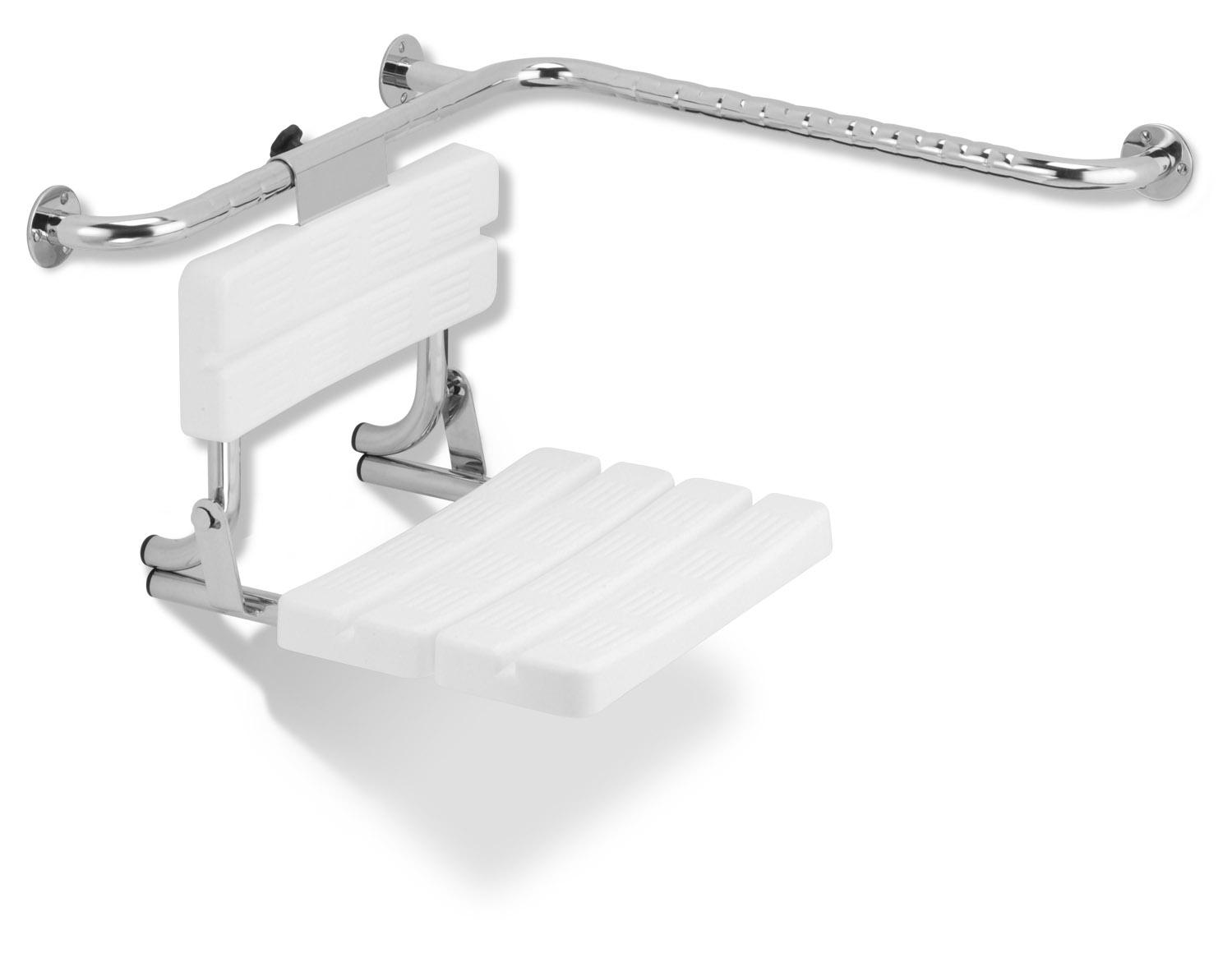 Funktion - sklopné sedátko, s opěrkou, montáž na madlo, PVC moduly