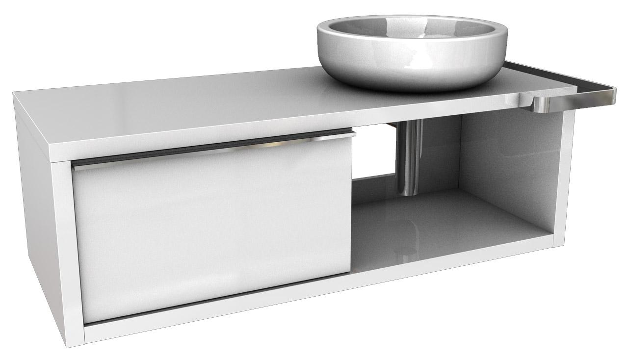 Kolo Ego/Ovum - skříňka pod umyvadlo 127 x 57 cm, pravá, lesklá bílá 89233000