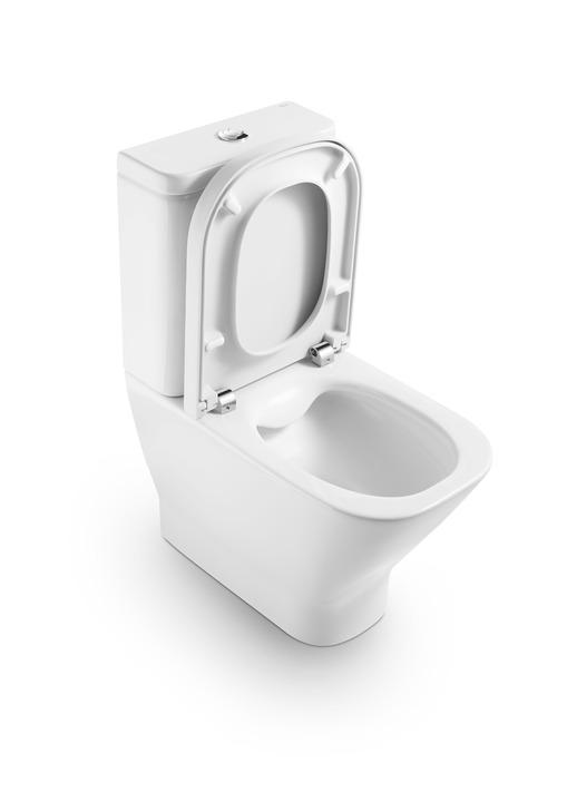 Roca the Gap Compact - Rimless WC mísa kombi, hluboké splachování, vario odpad, bez nádržky boční a sedátka A342737000