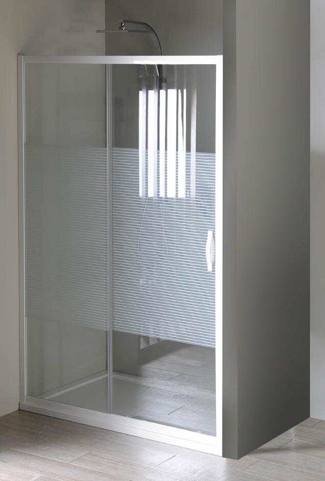 Gelco Sprchové dveře Eterno posuvné 110 cm, sklo strip/profil bílý GE6911