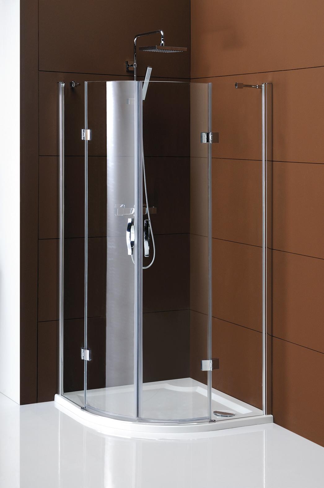 Gelco Sprchový kout Legro čtvrtkruhový, dvoudílné dveře 100x100 R55, sklo čiré/leštěný profil GL5510