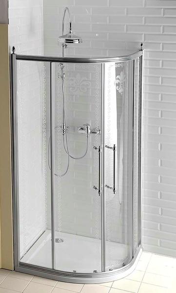 Gelco Sprchový kout Antique čtvrtkruhový, posuvné dveře 90x90 R55, sklo dekor/profil chrom GQ5090