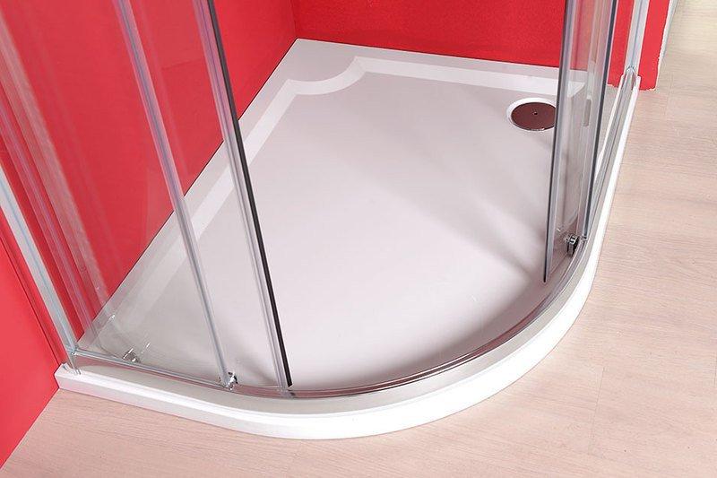 Gelco Sprchová vanička Riva - litý mramor - čtvrtkruhová pravá 120x90 R55 cm, bílá GR1290R