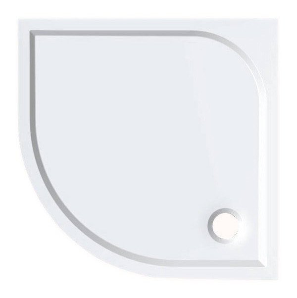 Sprchová vanička Semi - litý mramor - čtvrtkruhová 90x90 R55 cm, bílá