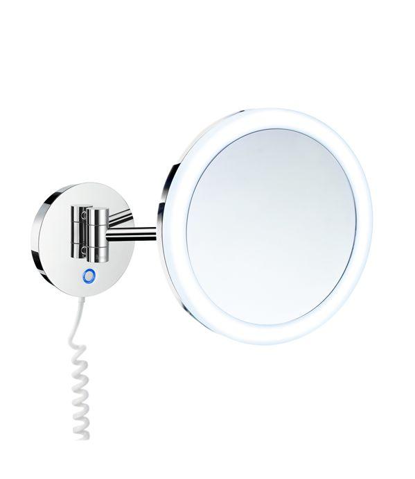 Smedbo Outline - kosmetické zrcátko PMMA s LED osvětlením, zvětšující (5x), nástěnné, chrom FK482E