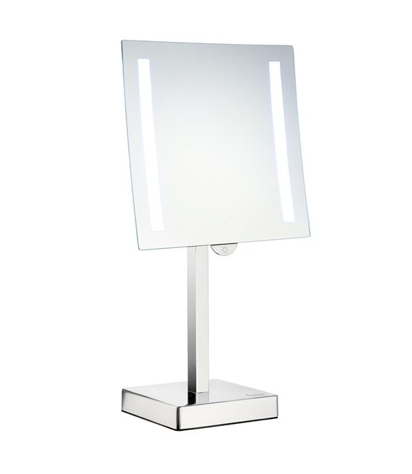 Smedbo Outline - kosmetické zrcátko s LED osvětlením, zvětšující (5x), k postavení, chrom FK473E