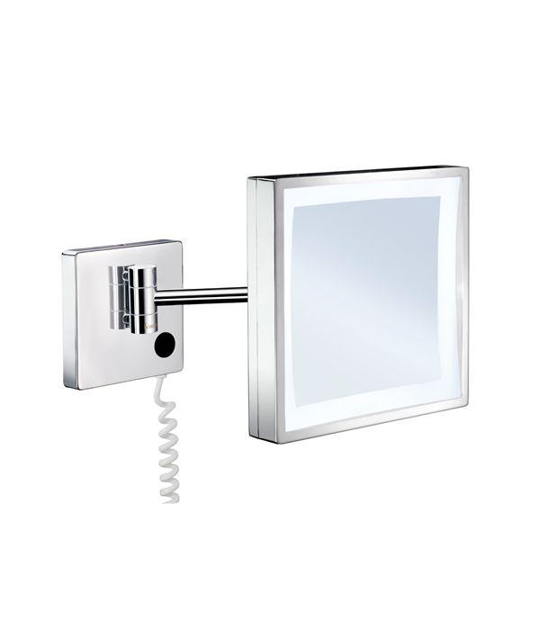 Smedbo Outline - kosmetické zrcátko s LED osvětlením, zvětšující (3x), nástěnné, chrom FK472E
