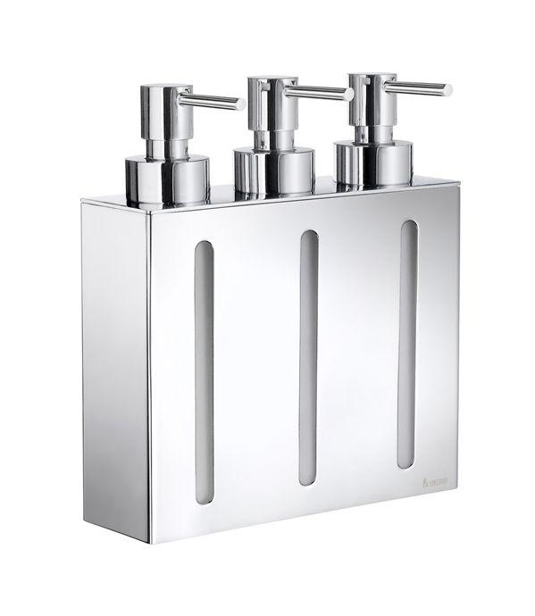 Smedbo Outline - trojitý dávkovač tekutého mýdla, nástěnný, chrom FK259