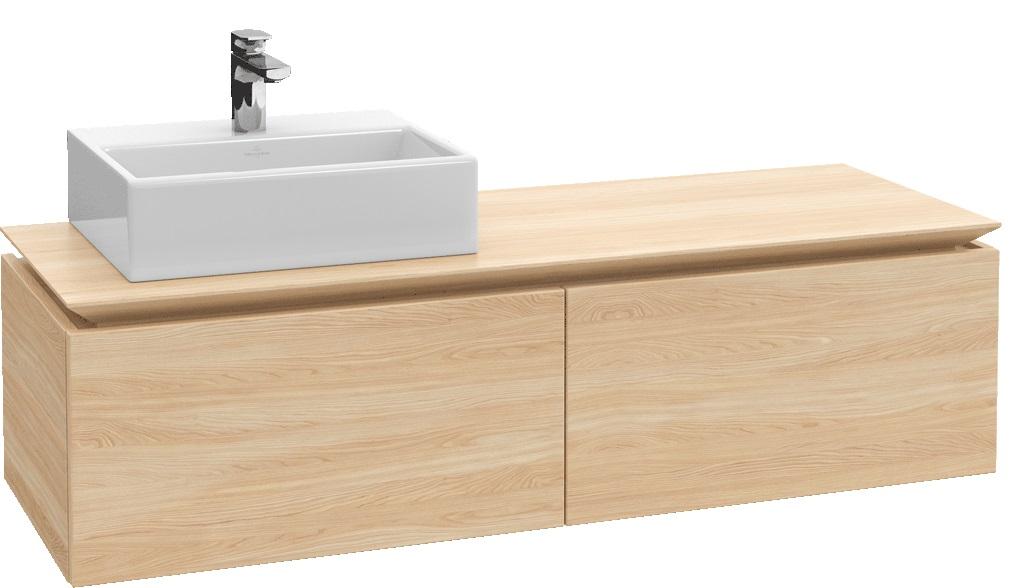 Villeroy-Boch Legato - spodní skříňka 160 x 50, závěsná, 2 zásuvky, umyvadlo vlevo, diodové osvětlení B117L0xx