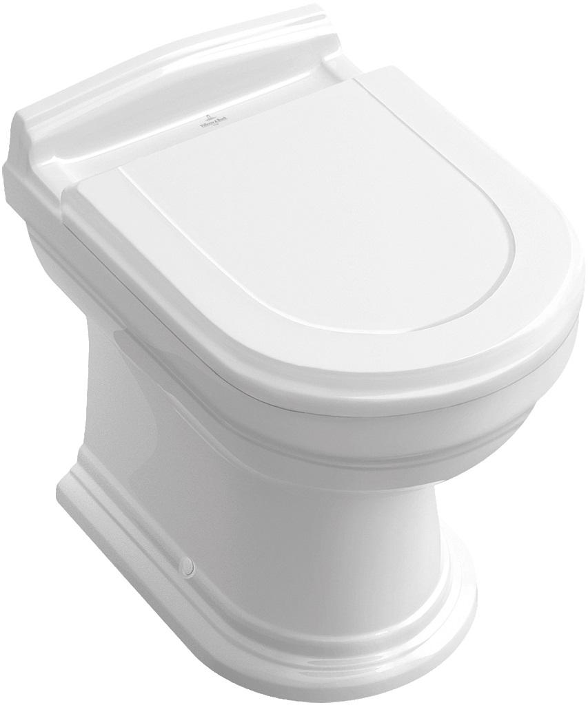 Villeroy-Boch Hommage - WC sedátko ke klozetu 6661B0, 666210 a 666310, bílá, závěsy ocel 8809S1R1