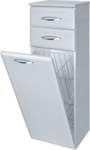 Intedoor Střední skříňka 35 cm, závěsná se 2 zásuvkami a košem na prádlo SS35KZ