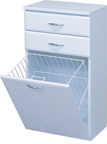 Intedoor Střední skříňka 50 cm, závěsná se 2 zásuvkami a košem na prádlo SS50KZ