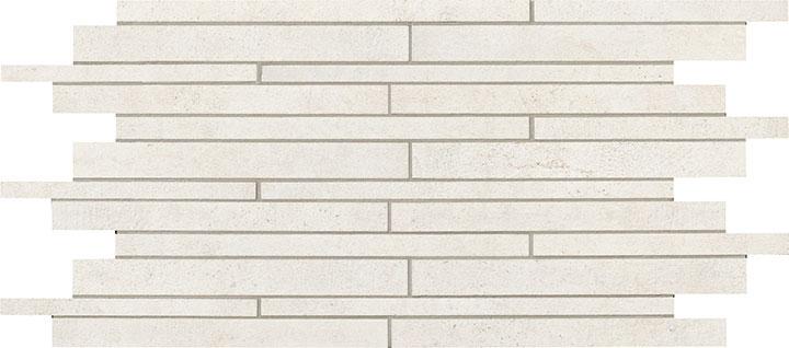 Mattoncino Titanio Lappato - dlaždice mozaika 29,7x59,5 bílá lappovaná