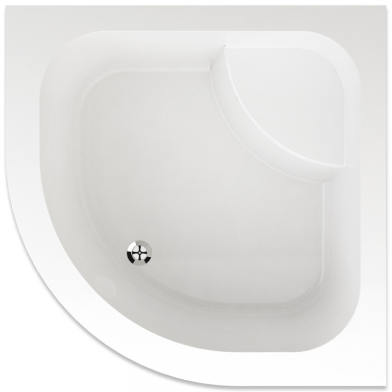 Teiko Argo - sprchová vanička hluboká čtvrtkruhová 90 x 90 x 35 R55 cm akrylátová Argo 90x90