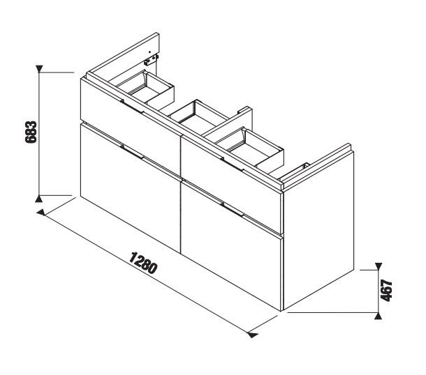 Jika Cubito-N - skříňka pod dvojumyvadlo 130 cm, 4 zásuvky, tmavá borovice H40J4274024611
