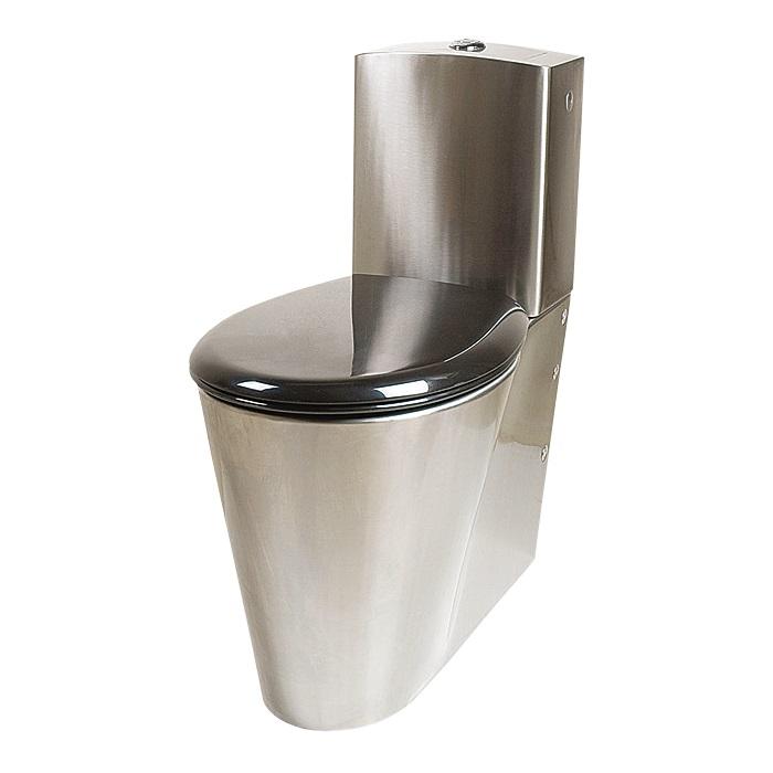Sanela SLWN 16 - Nerezové antivandalové kombi WC pro tělesně handicapované, spodní přívod vody, černé sedátko 94160