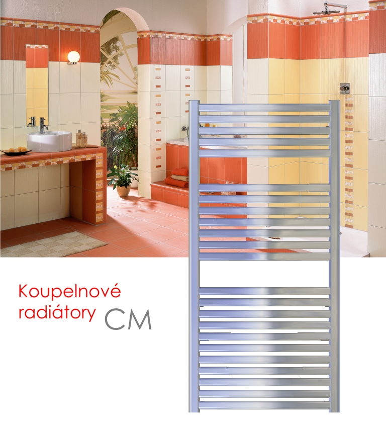 CM.E 45x123 elektrický radiátor bez regulace, chrom