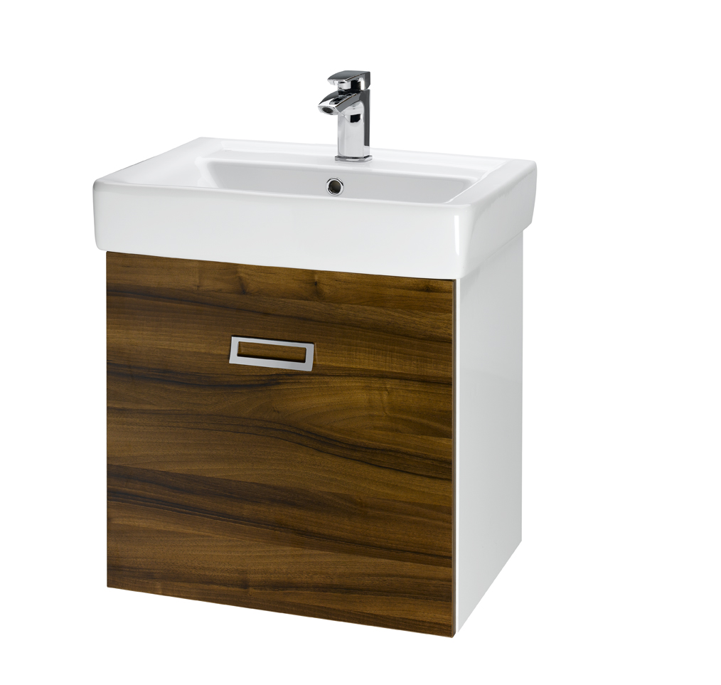 Dřevojas Q mono 550 - skříňka s umyvadlem, závěsná, ořech/bílá 61350
