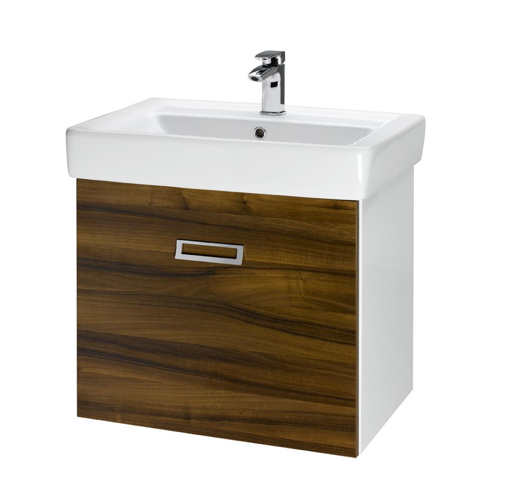 Dřevojas Q mono 700 - skříňka s umyvadlem, závěsná, ořech/bílá 60742