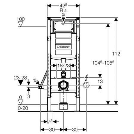 Geberit Montážní prvek Duofix pro závěsné WC, s nádržkou UP320, stavební výška 112 cm, pro tělesně postižené 111.350.00.5