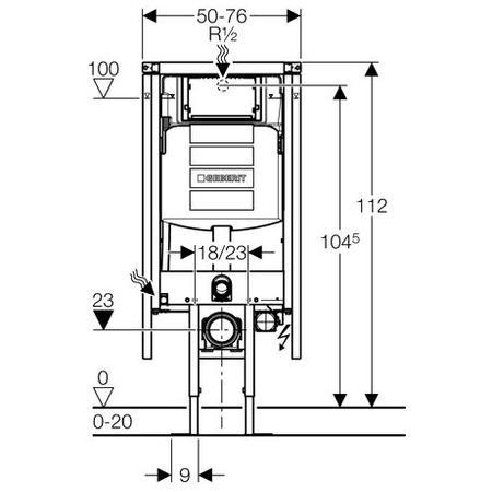 Geberit Rohový montážní prvek Duofix pro závěsné WC, s nádržkou UP320, stavební výška 112 cm 111.390.00.5