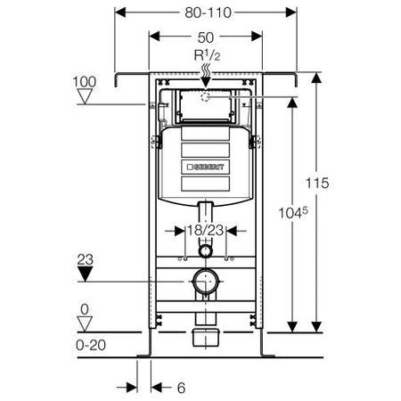 Geberit Montážní prvek Duofix Special pro závěsné WC, s nádržkou UP300, stavební výška 115 cm 111.355.00.5