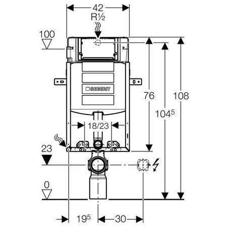 Geberit Prvek Kombifix Eco pro závěsné WC, s nádržkou UP320, stavební výška 108 cm 110.302.00.5