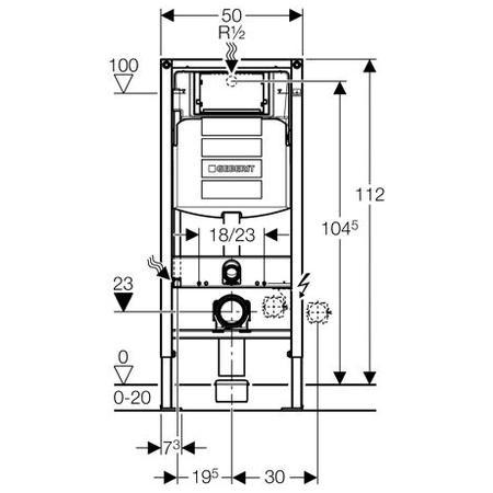 Geberit Montážní prvek Duofix pro závěsné WC, s nádržkou UP300, stavební výška 112 cm 111.300.00.5