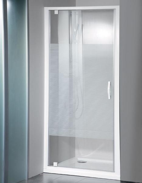 Gelco Sprchové dveře Eterno otočné 90 cm, sklo strip/profil bílý GE6690