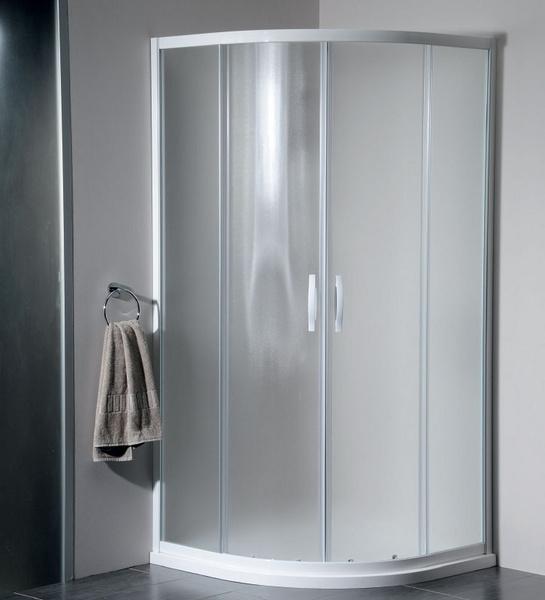Gelco Sprchový kout Eterno čtvrtkruhový, dvoudílné dveře 90x90 R55, sklo strip/profil bílý GE6590